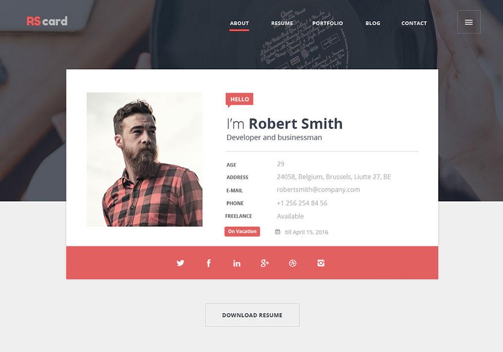 Material Design Resume CV Portfolio