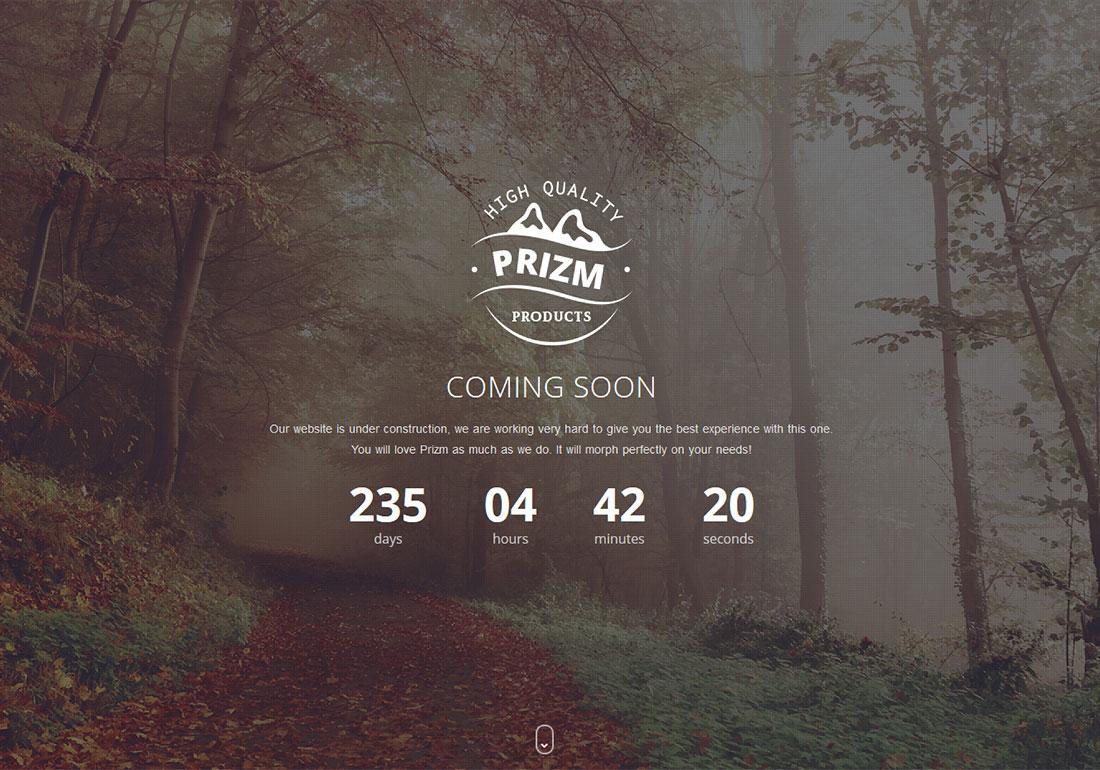 Prizm Responsive Coming Soon Theme