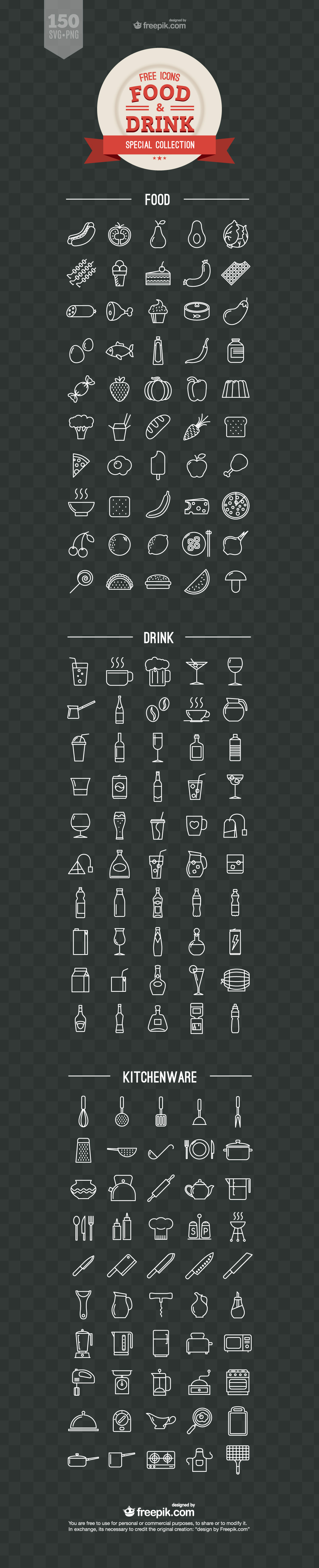 Food and Drink Icons Vector Free Download