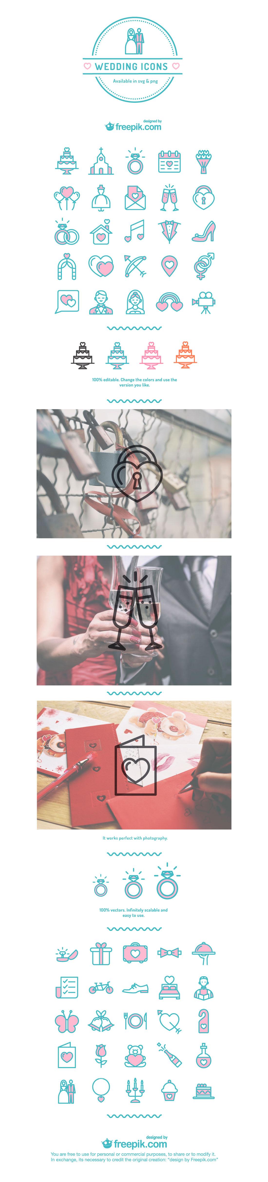 Wedding Icons Vector Set