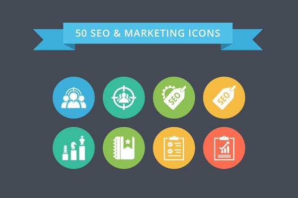 50 SEO Marketing Flat Color Icon Set