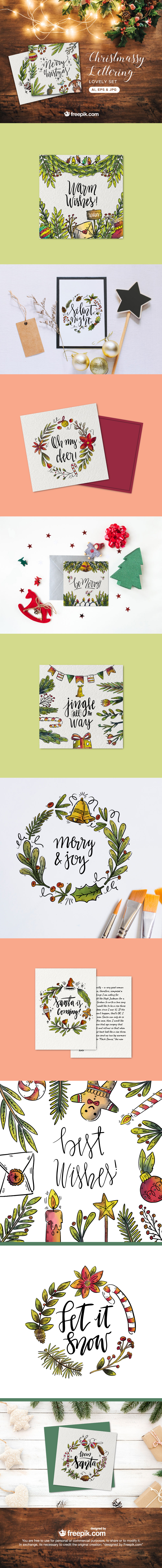 Christmas Watercolor Lettering Lovely Set free download