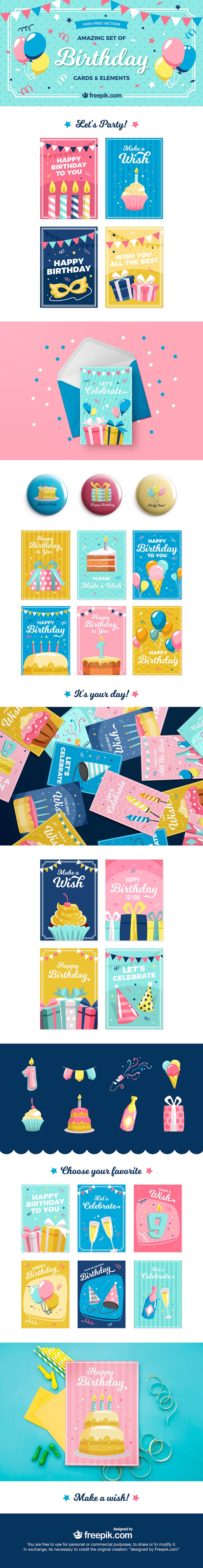 Amazing Set of Birthday Cards & Elements
