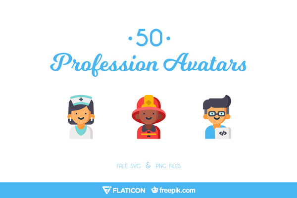 50 Flat & Vibrant Profession Avatars