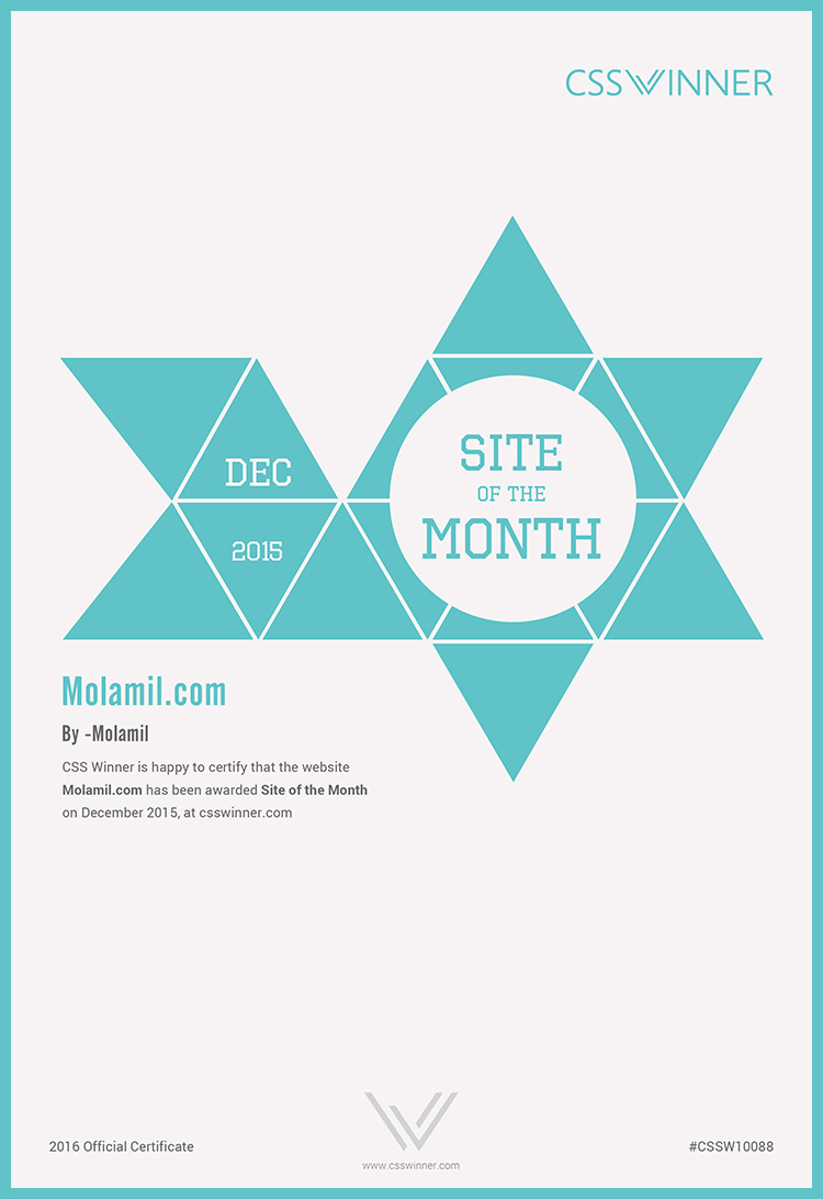 CSS Winner Site of the Month Certificate