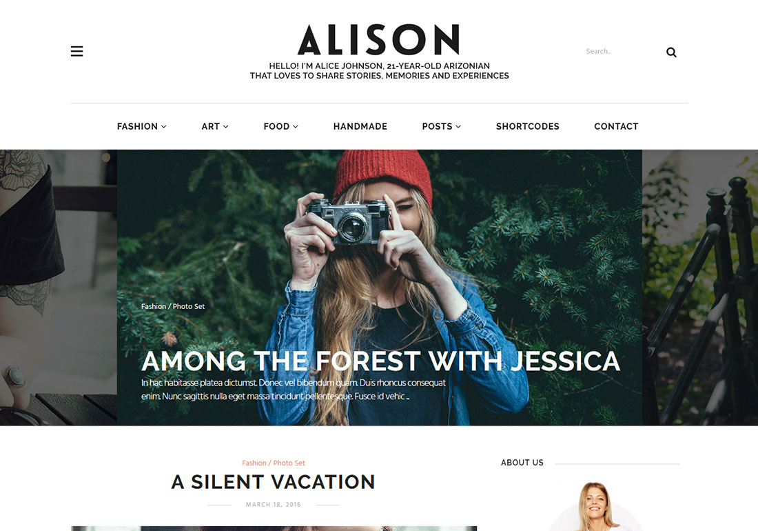Alison Personal Blog WP Theme
