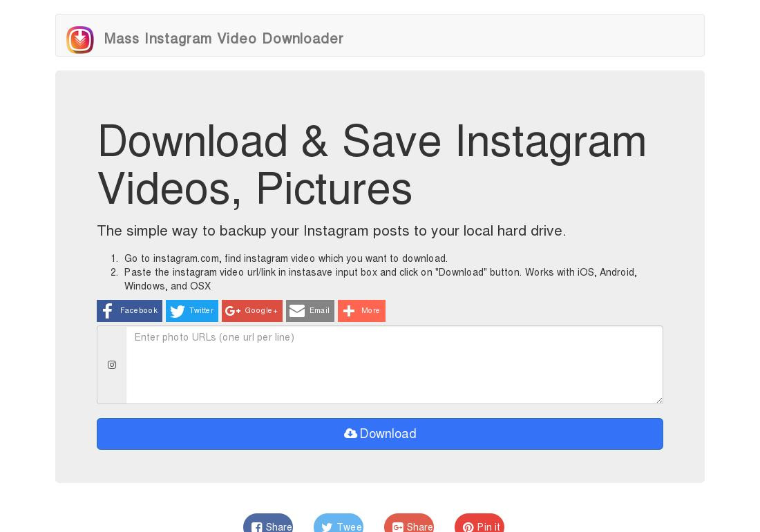 Mass Instagram Video Downloader