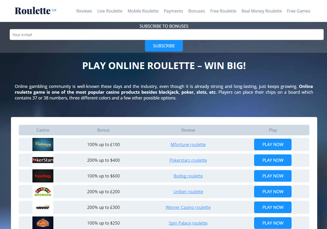 BEST ONLINE ROULETTE - PLAY FOR FUN