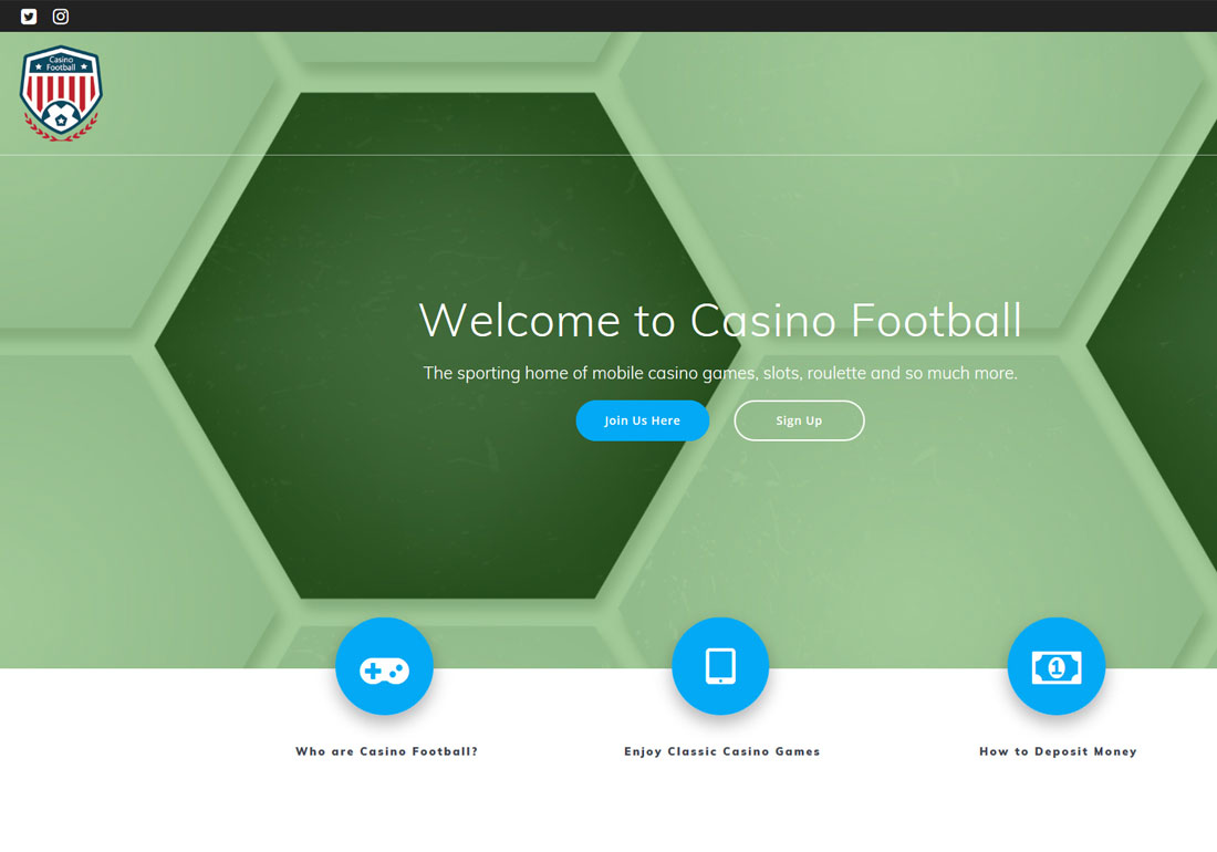 Casino Football - Website Design