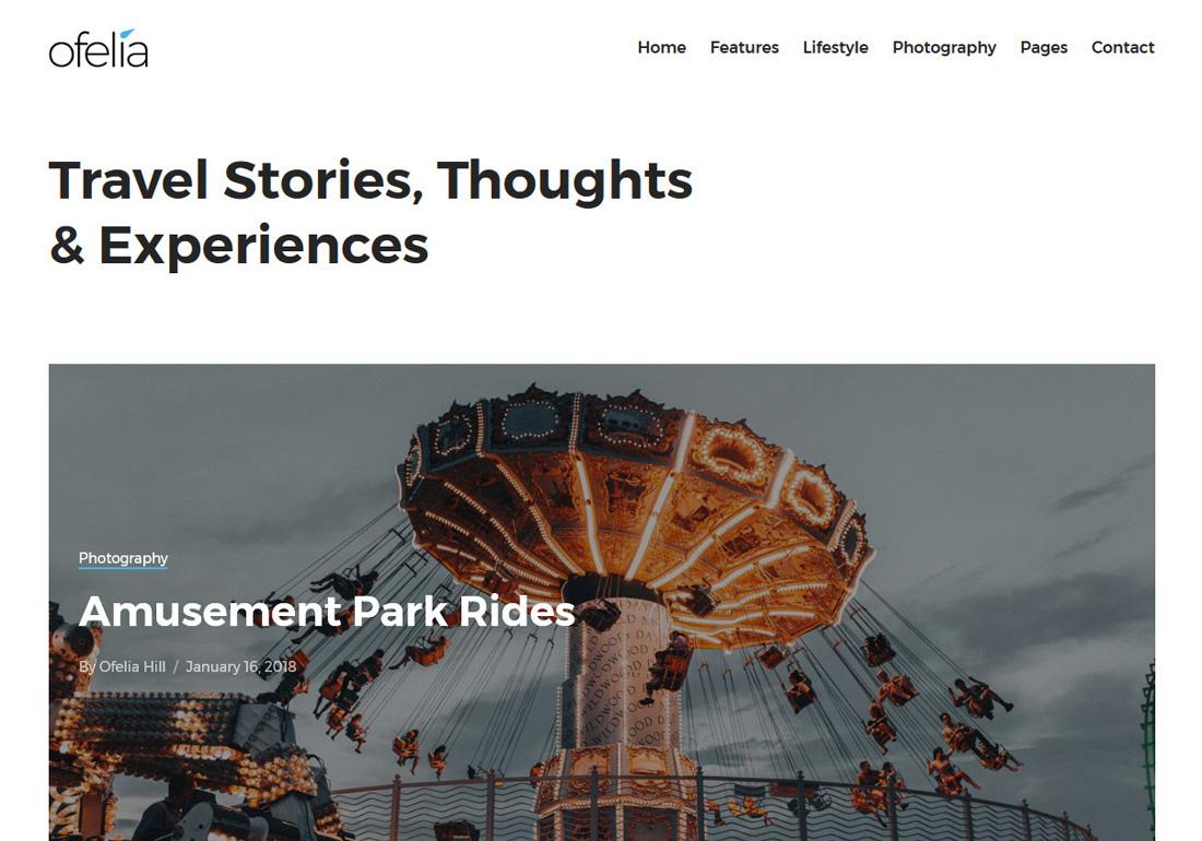 Ofelia Travel Blog WordPress Theme