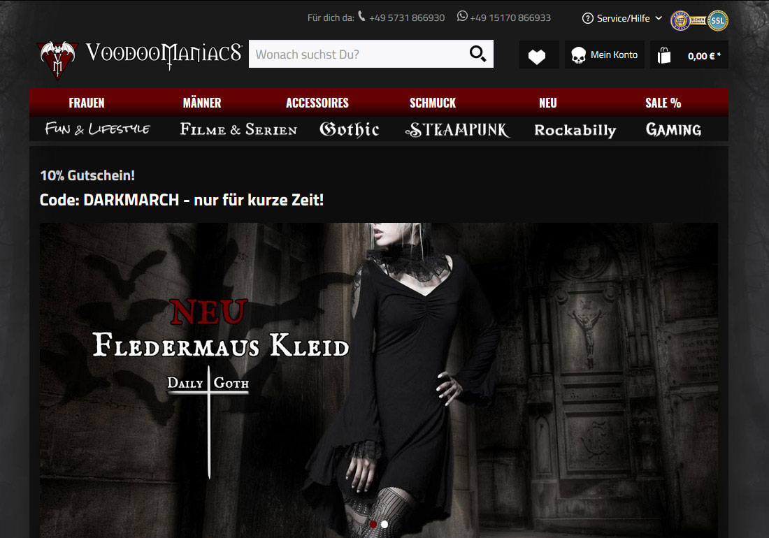 VOODOOMANIACS Gothic Steampunk Shop