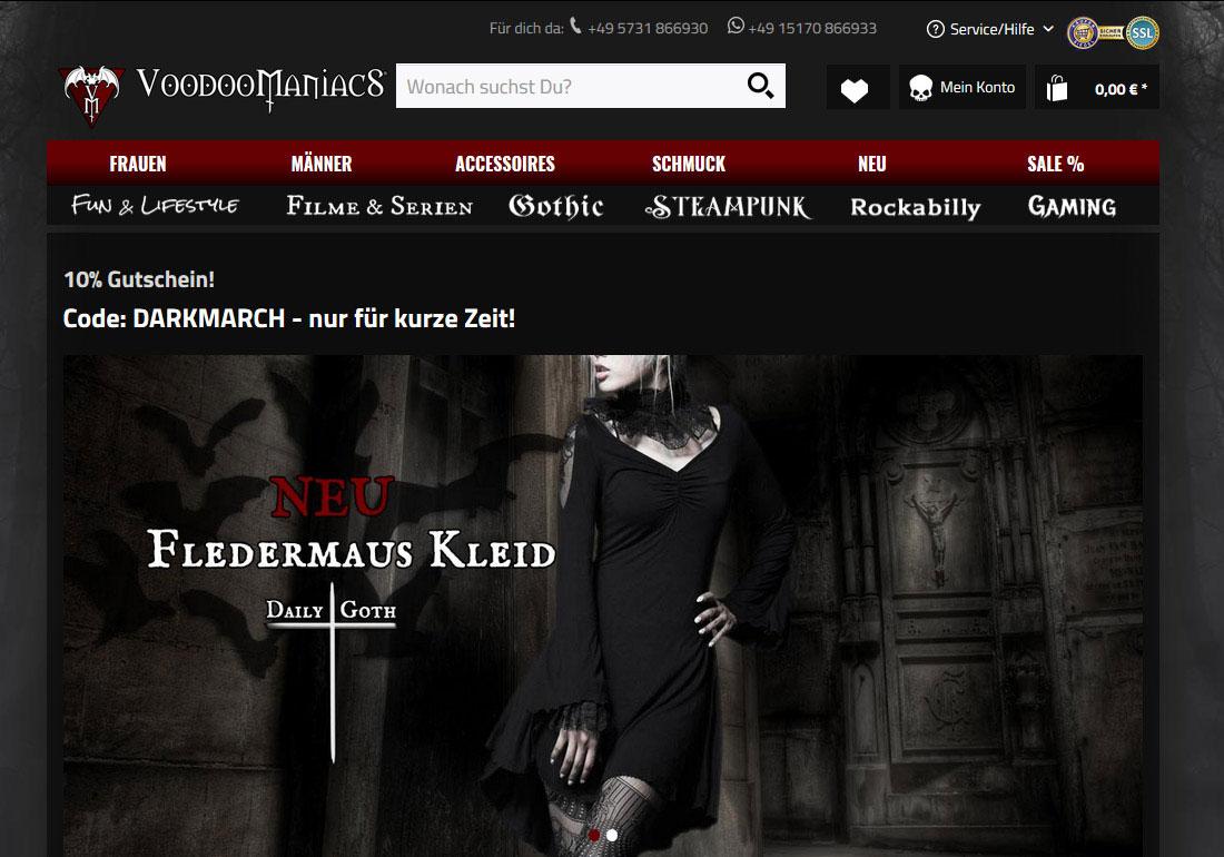 VOODOOMANIACS Gothic Steampunk Shop