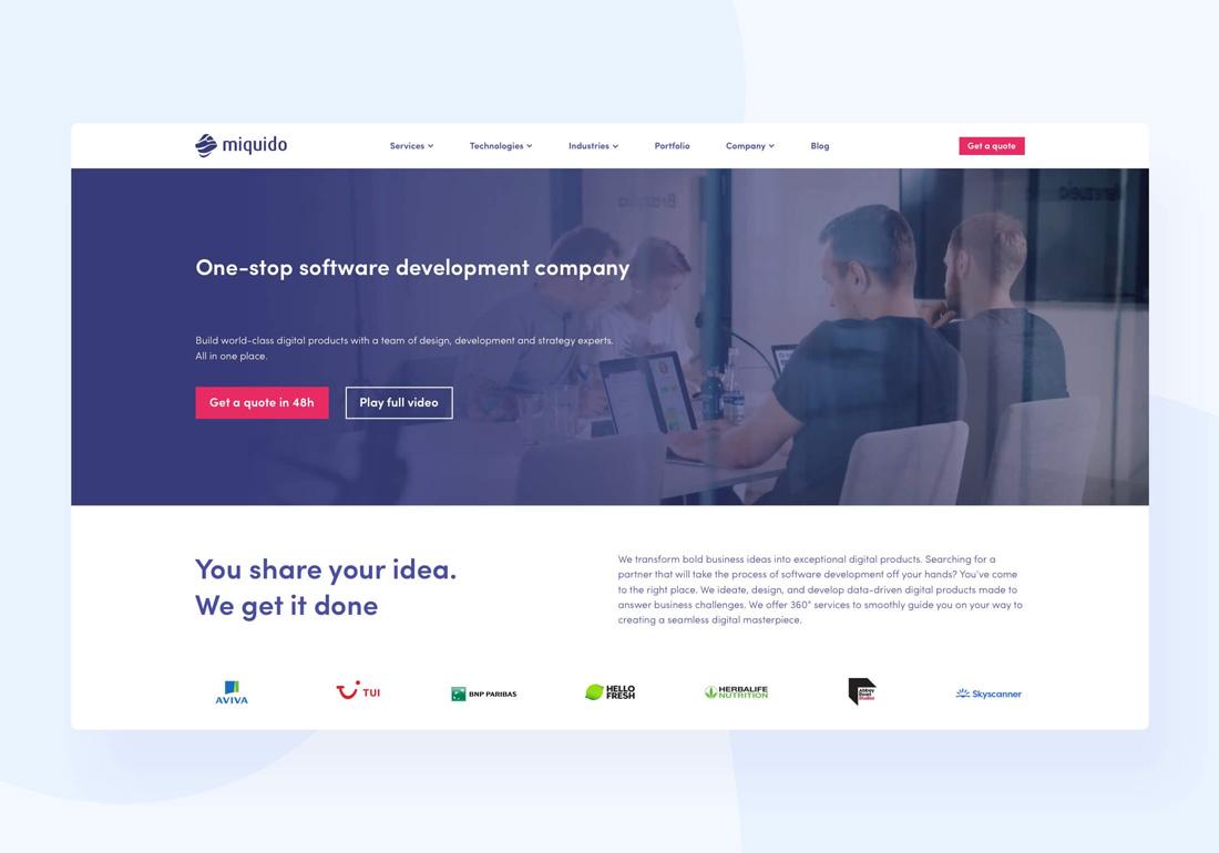 Miquido Homepage 2021