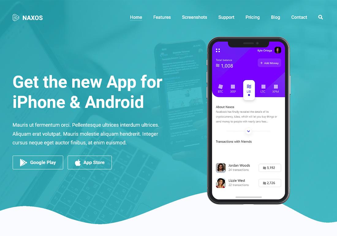 Naxos - App Landing Page WordPress
