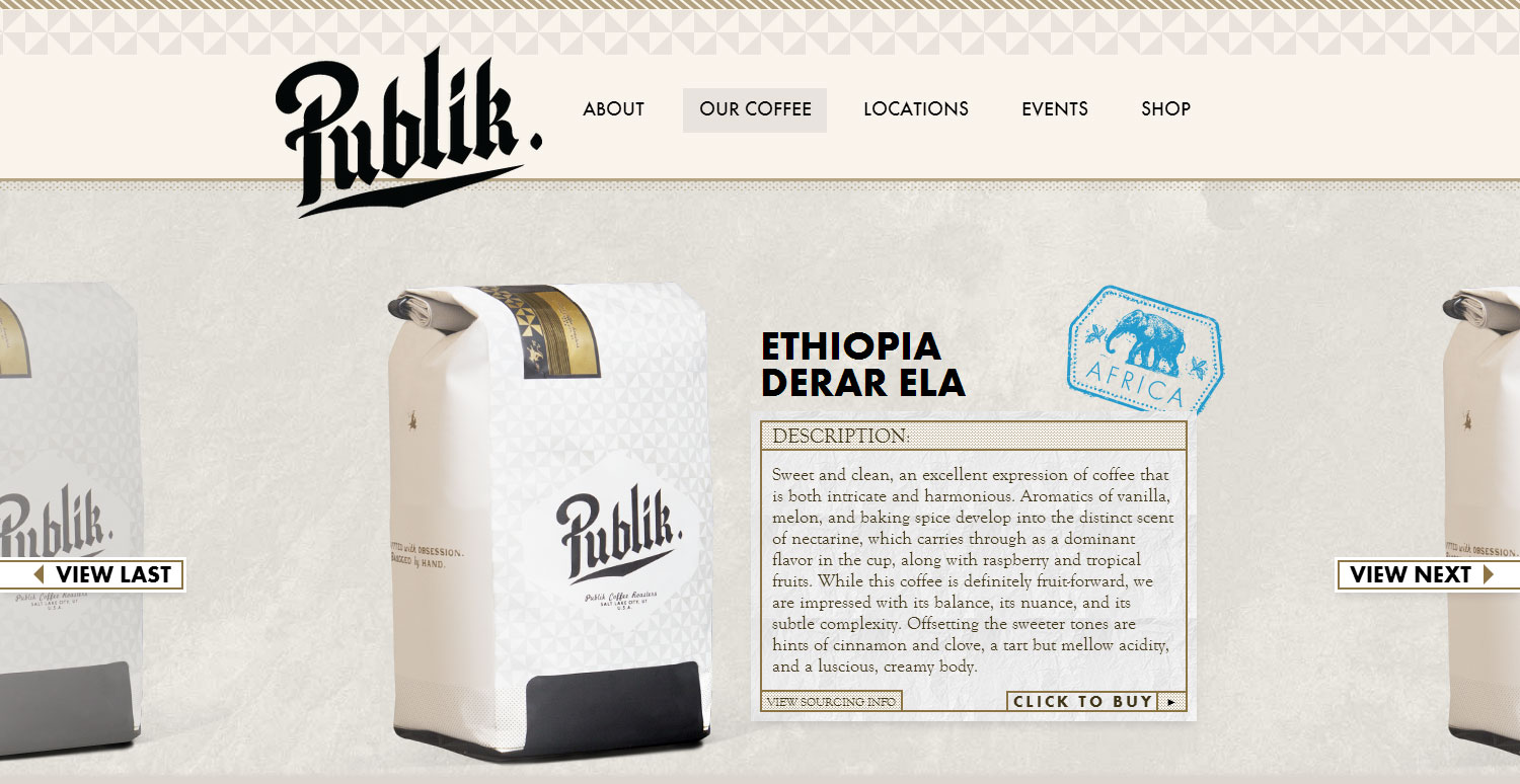 Publik Coffee Roasters - Website of the Day