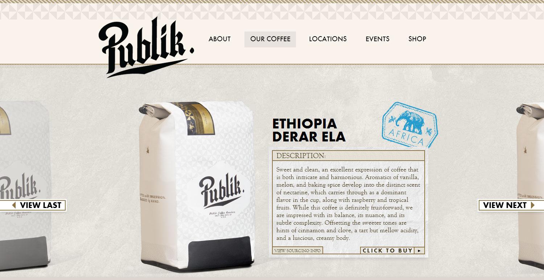 Publik Coffee Roasters - Website of the Day