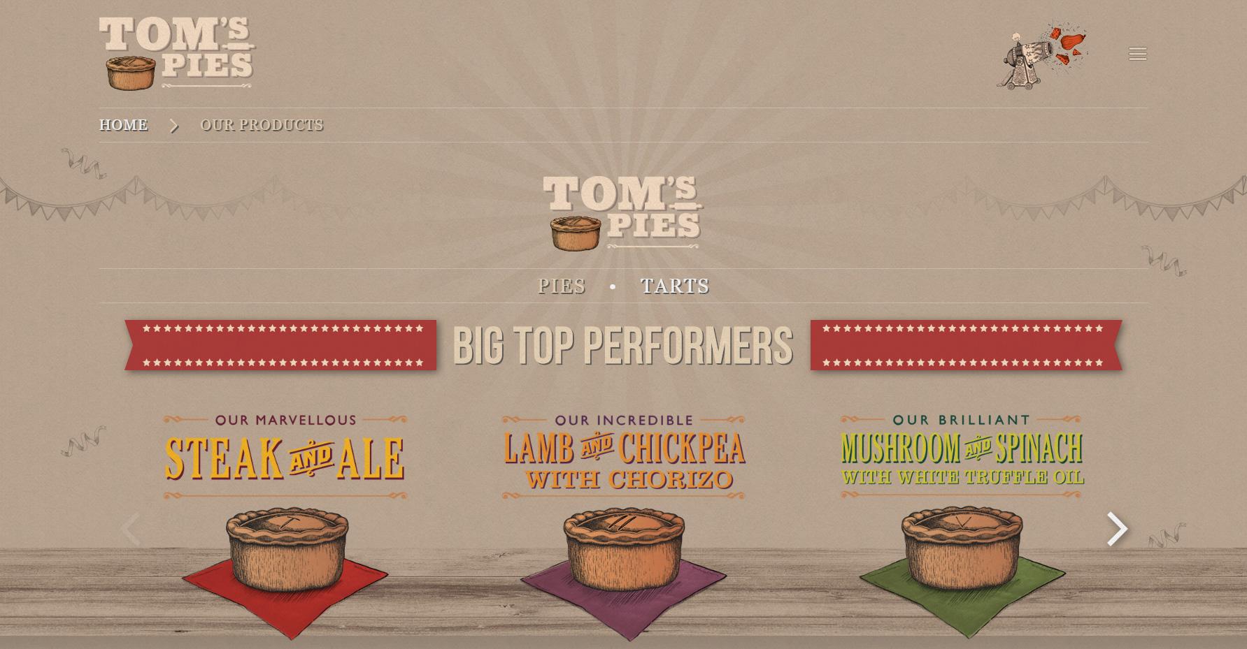 Tom's Pies - Food Portfolio - Website of the Day