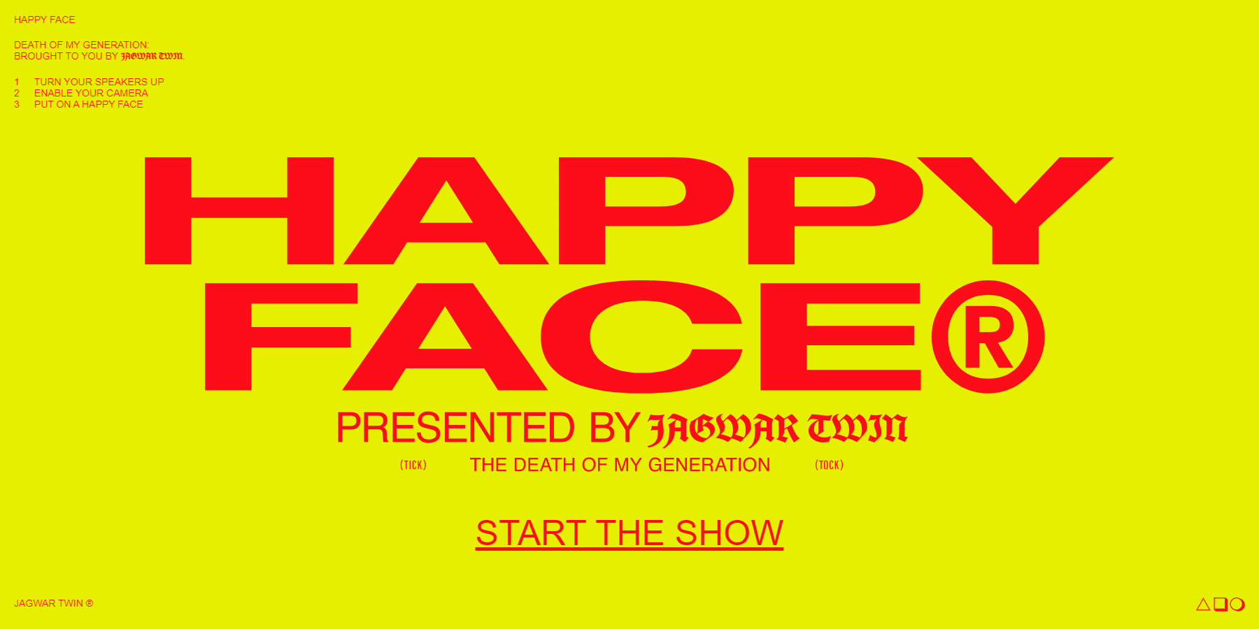 Jagwar Twin - Happy Face Experiment - Website of the Day