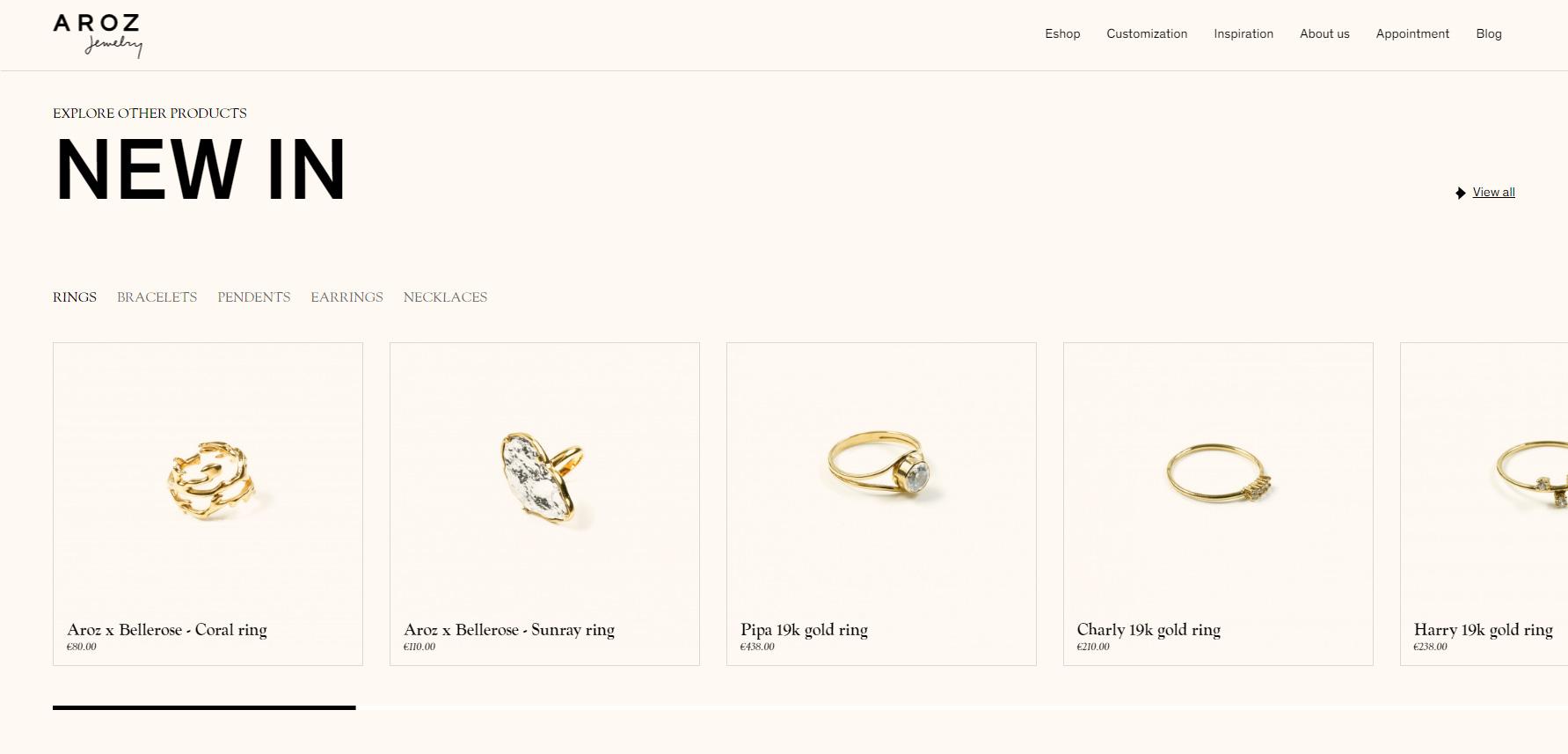 Aroz Jewelry - Website of the Day