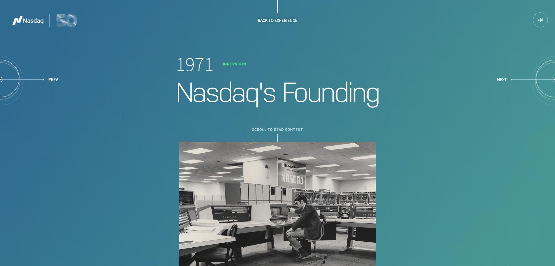 Nasdaq 50th anniversary - Website of the Day